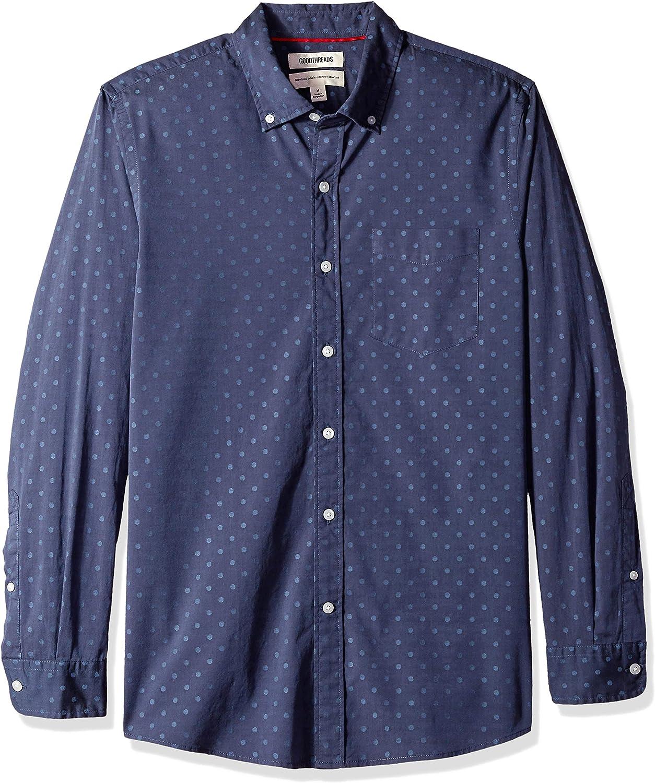 camiseta de seda labrada de manga larga y ajuste est/ándar para hombre Goodthreads Marca