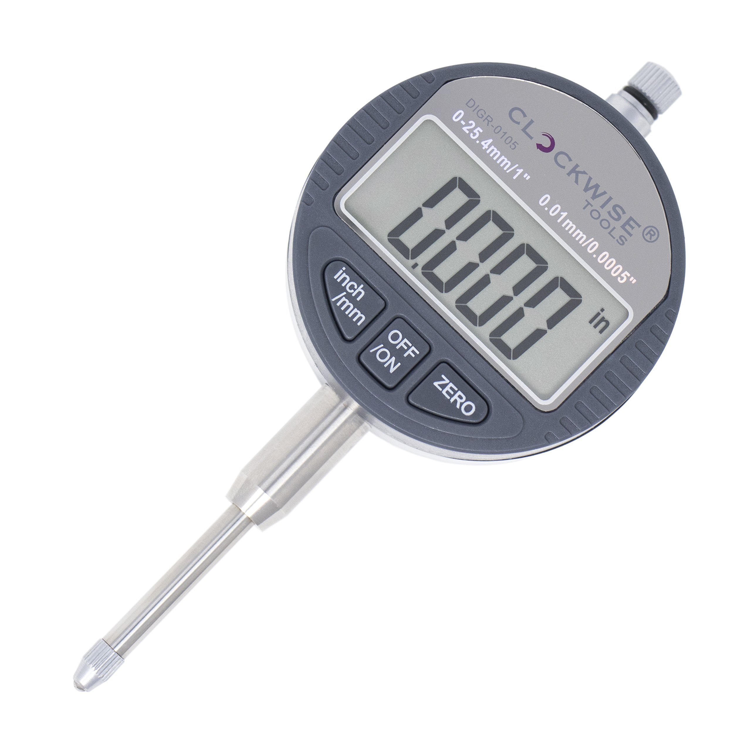 Clockwise Tools DIGR-0105 Electronic Digital Dial Indicator Gage Gauge Inch/Metric Conversion 0-1 Inch/25.4 mm with Back Lug Auto Off Featured Measuring Tool
