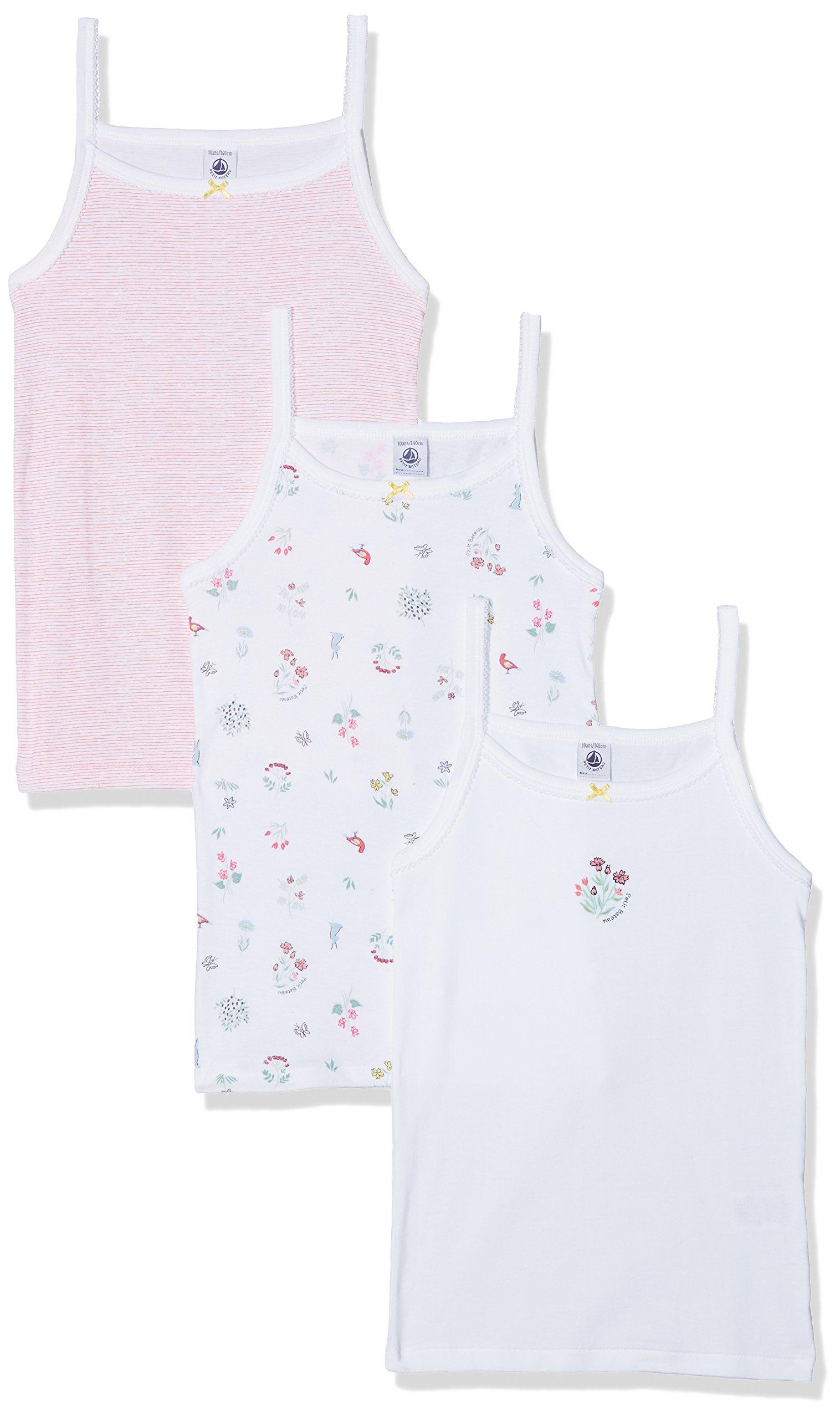 Petit Bateau Set of 3 Girls Sleeveless Camisoles-Undershirt Style 28737 Sizes 2-14 (Size 6 Style 28737 Girls TOP)
