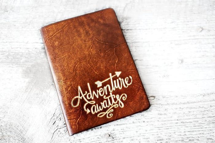 amazon com leather passport cover adventure awaits travel wallet