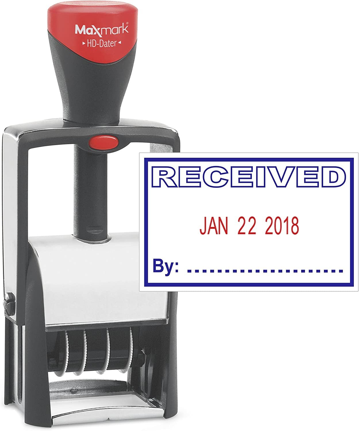 "Heavy Duty Date Stamp with""Received"" Self Inking Stamp - 2 Color Blue/Red Ink"