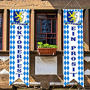 Oktoberfest Decorations Bavarian Check Flag Oktoberfest Sign Oktoberfest Porch Sign Welcome Banner for German Theme Party Oktoberfest Parade Decoration Beer Festival Party Accessory