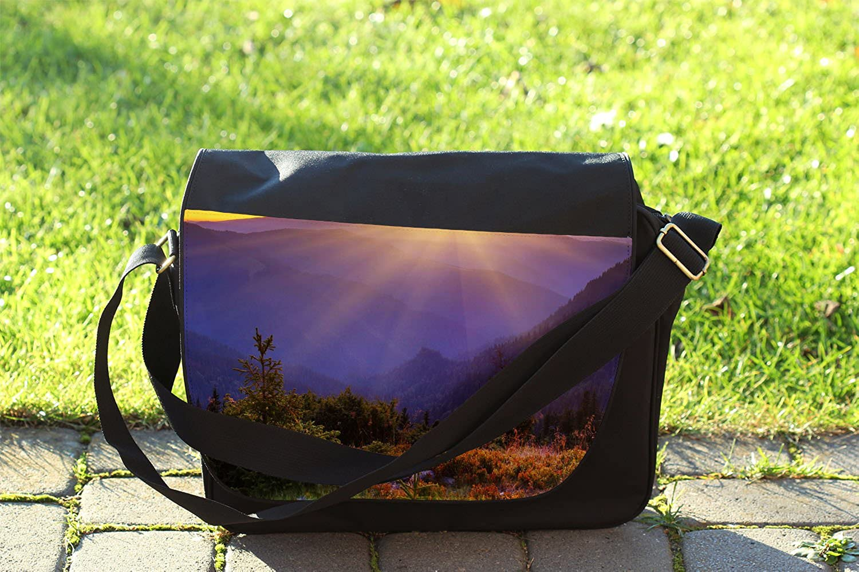 Cross Body Laptop School Work Bag Perfect Mountain Sunset Messenger Bag
