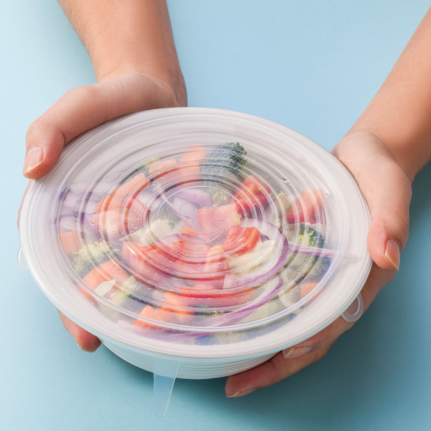 Silicone Stretch Lids, 6-Pack Various Sizes Cover for Bowl by i-Kawachi (Image #2)