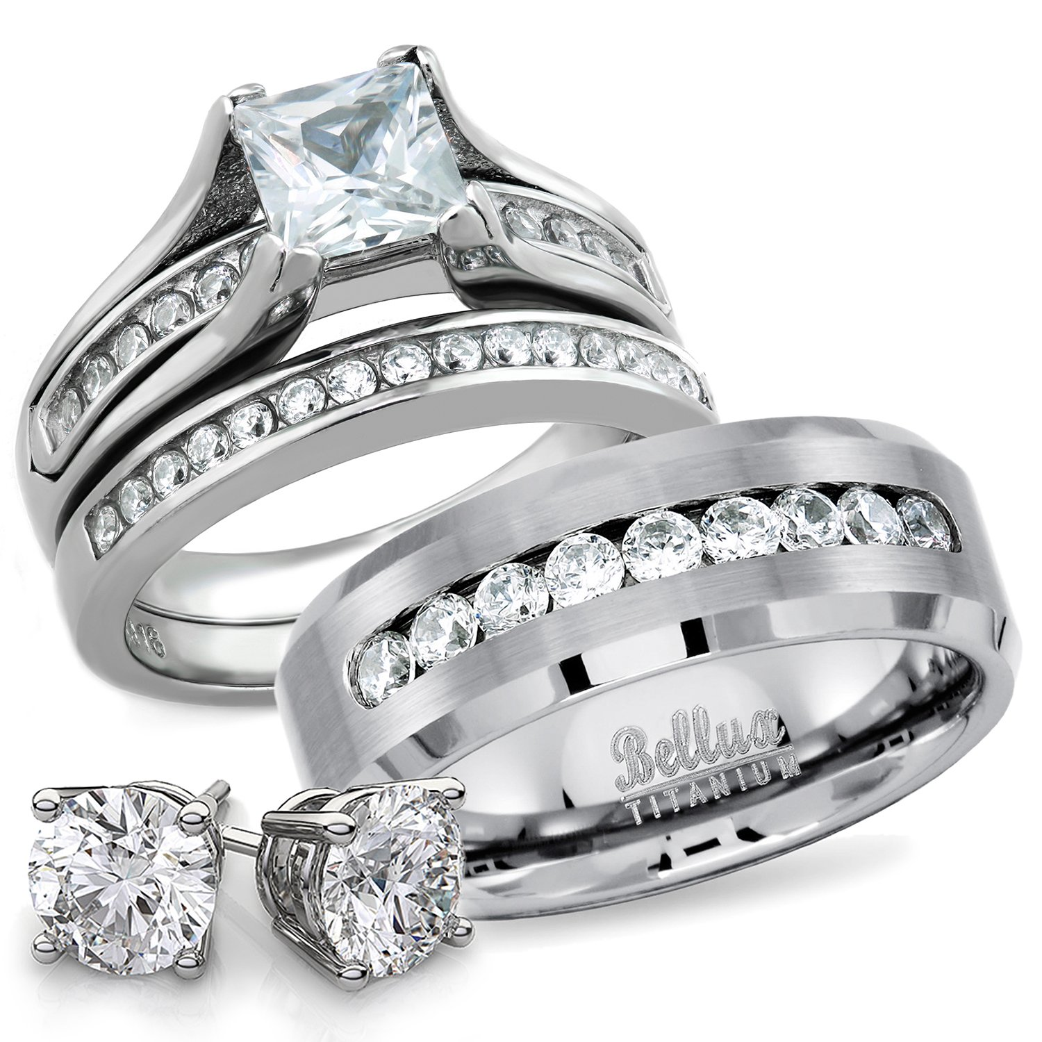 His and Hers Titanium Stainless Steel CZ Bridal Matching Wedding RingS Set + FREE STERLING SILVER EARRINGS