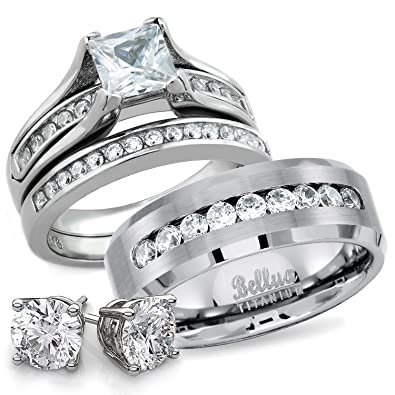 his and hers wedding ring sets titanium stainless steel cz bridal matching wedding rings set - Cz Wedding Rings