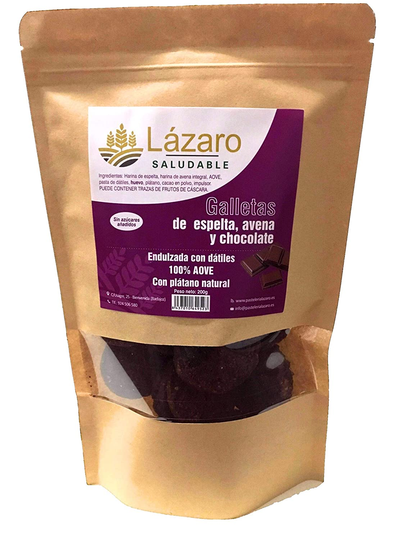 Lázaro - Galletas de Avena, Espelta y Chocolate, 200 g