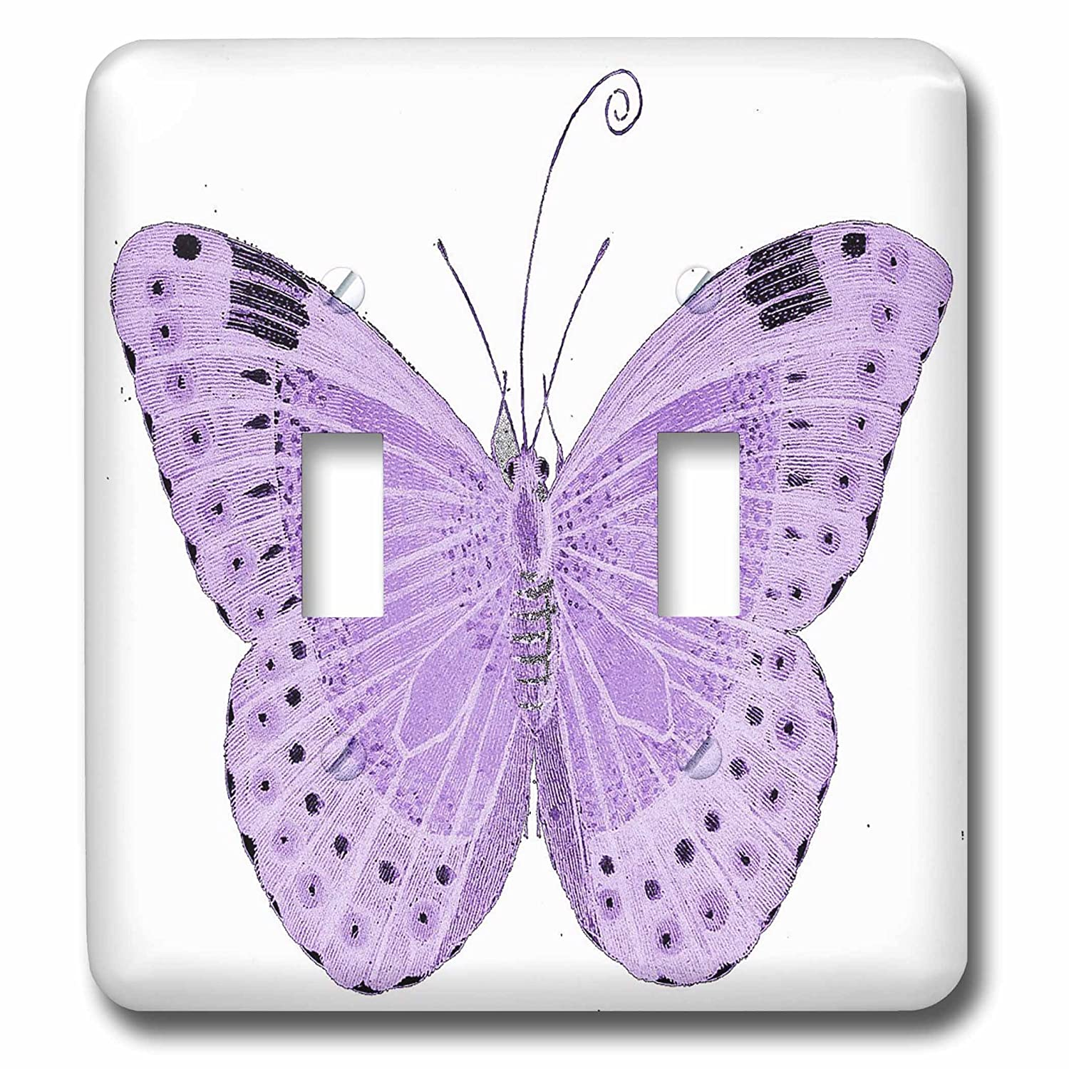 3dRose lsp_65814_2 Pretty Purple Butterfly Double Toggle Switch