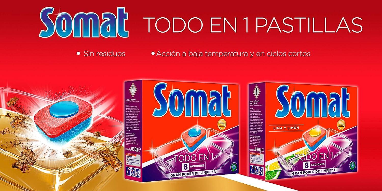 Somat Todo En 1 Pastillas para Lavavajillas 8 Funciones - 52 ...