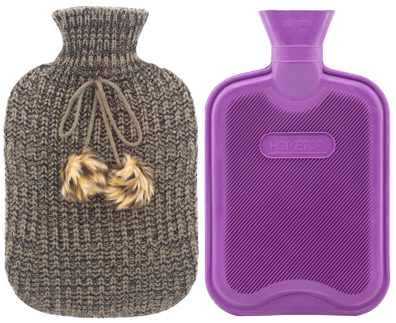 Premium Classic Rubber Hot Water Bottle and Blending Knit Cover with Pom Pom Decor (Gray)