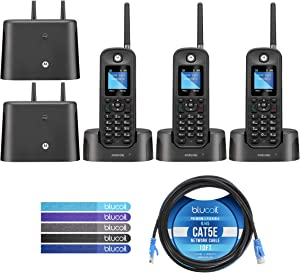 Motorola O211 DECT 6.0 Long Range Cordless Phone with Digital Answering Machine Bundle with 2-Pack of O212 Handsets, Blucoil 10-FT 1 Gbps Cat5e Cable, and 5-Pack of Reusable Cable Ties