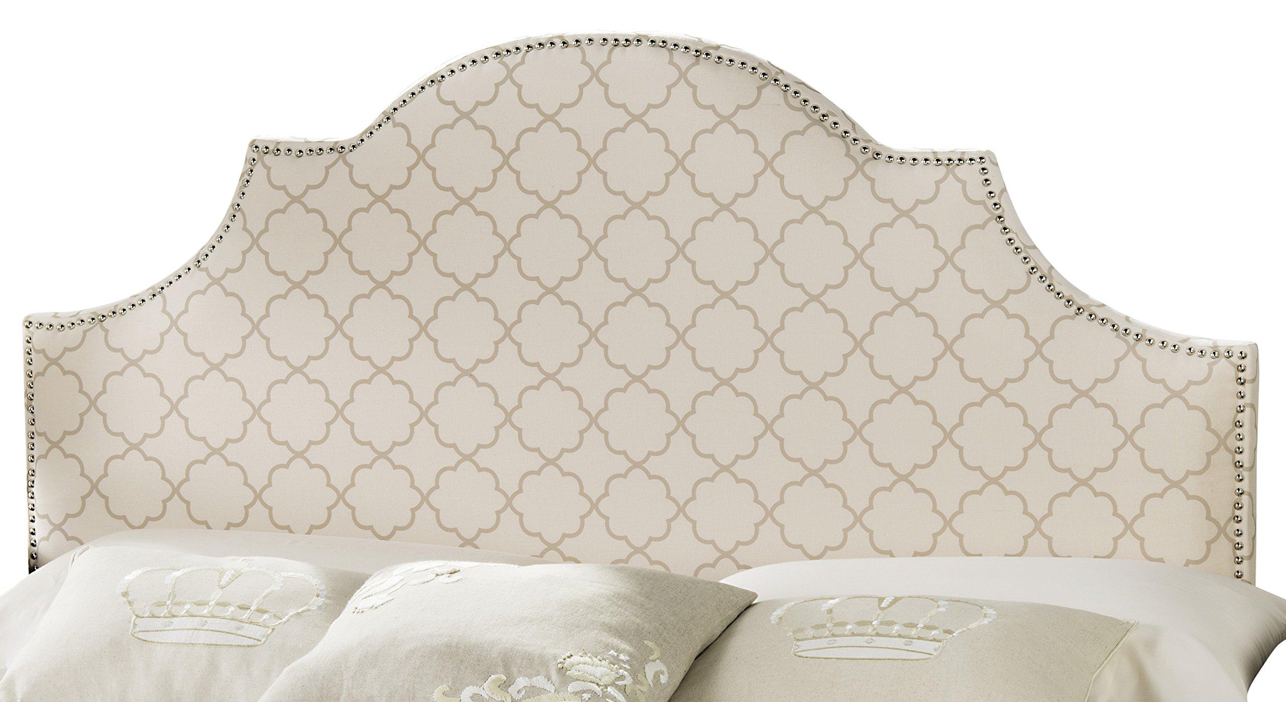 Safavieh Hallmar Pale Pink/ Beige Upholstered Arched Headboard - Silver Nailhead (King)