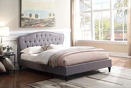 Home Life Premiere Curved Classics Cloth Dark Grey Silver Linen 51u0026quot;  Tall Headboard Platform Bed