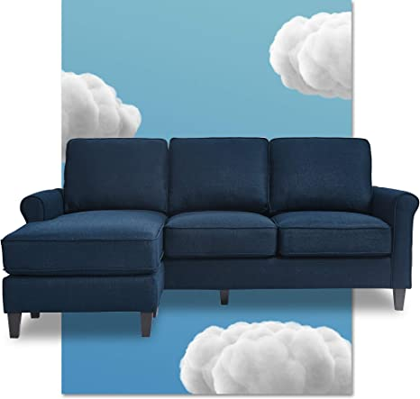 Serta Harmon Rolled Arm Reversible Sectional Sofa Living Room Modern L Shaped 3 Seat Fabric Couch Dark Blue Furniture Decor