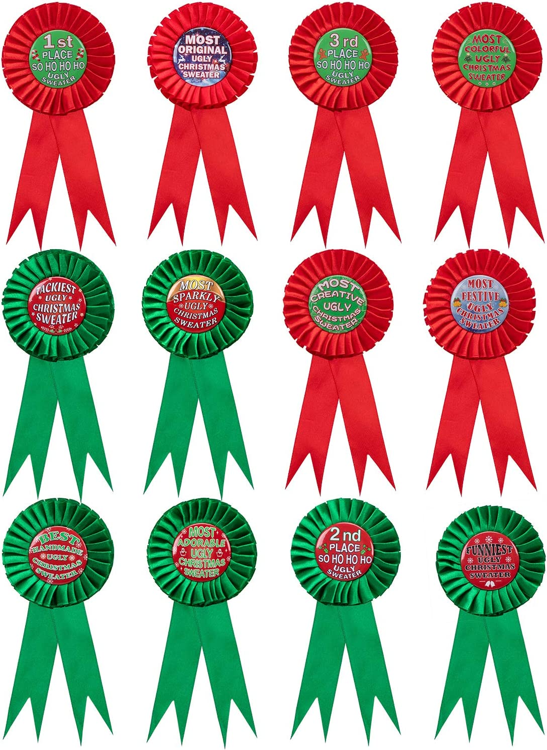 jollylife 12PCS Christmas Ugly Sweater Award Ribbons Decorations Xmas Party Contest Prize Pins Ornaments Decor