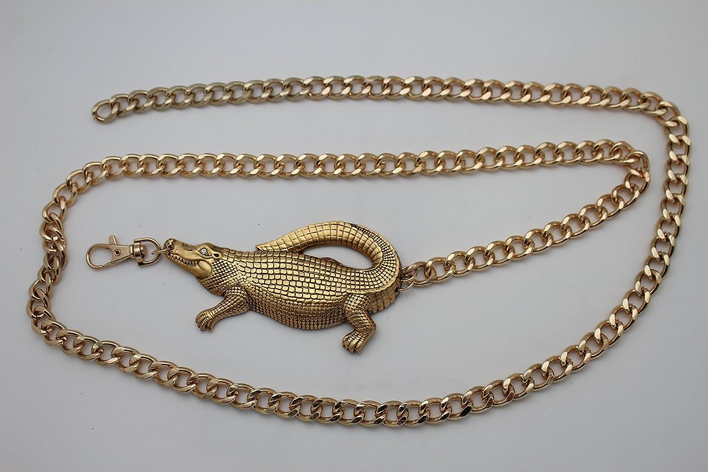 TFJ Women Fashion Belt Hip Waist Gold Metal Chains Alligator Crocodile Plus M L XL