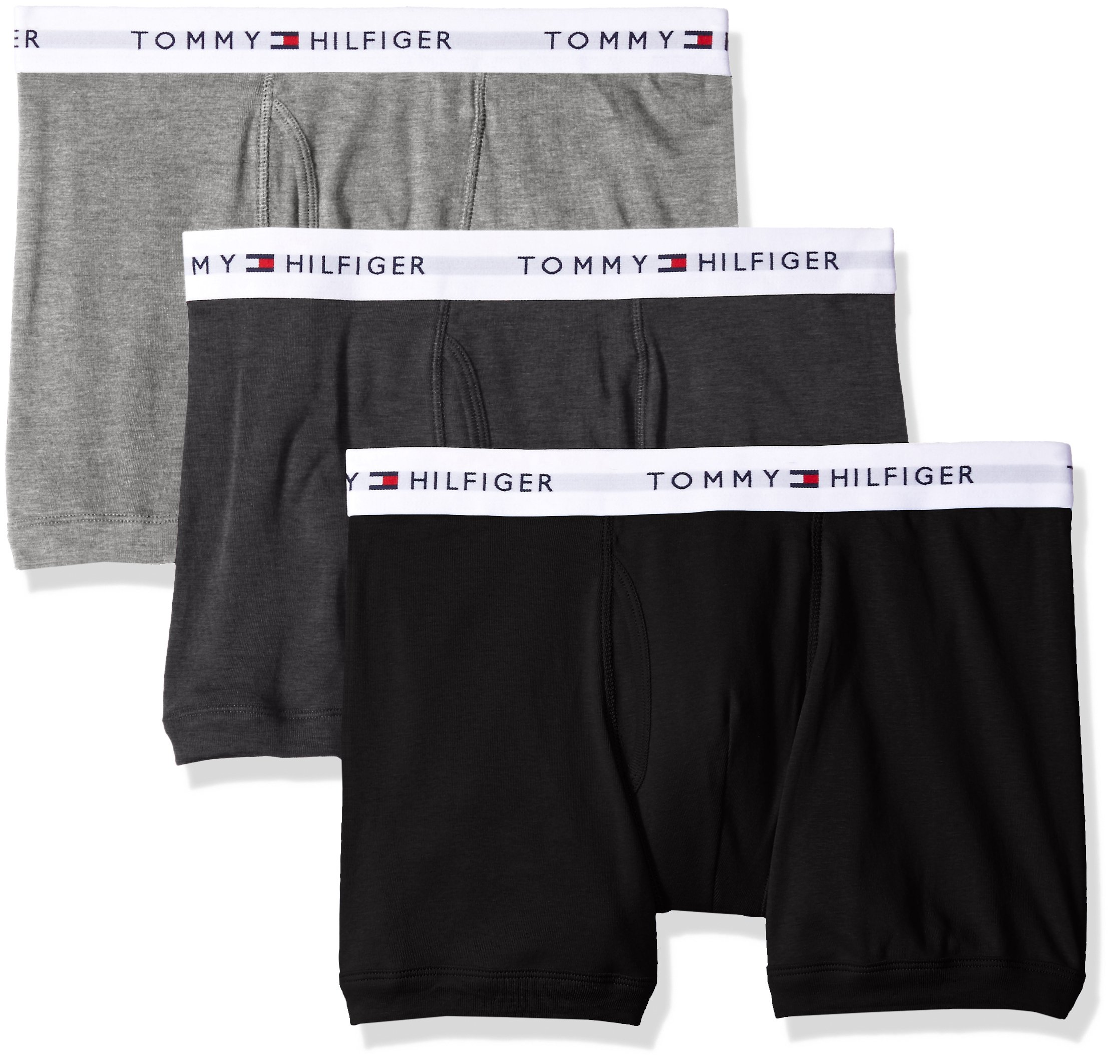 Tommy Hilfiger Men's Underwear 3 Pack Cotton Classics Trunks, Grey Heather, Small by Tommy Hilfiger
