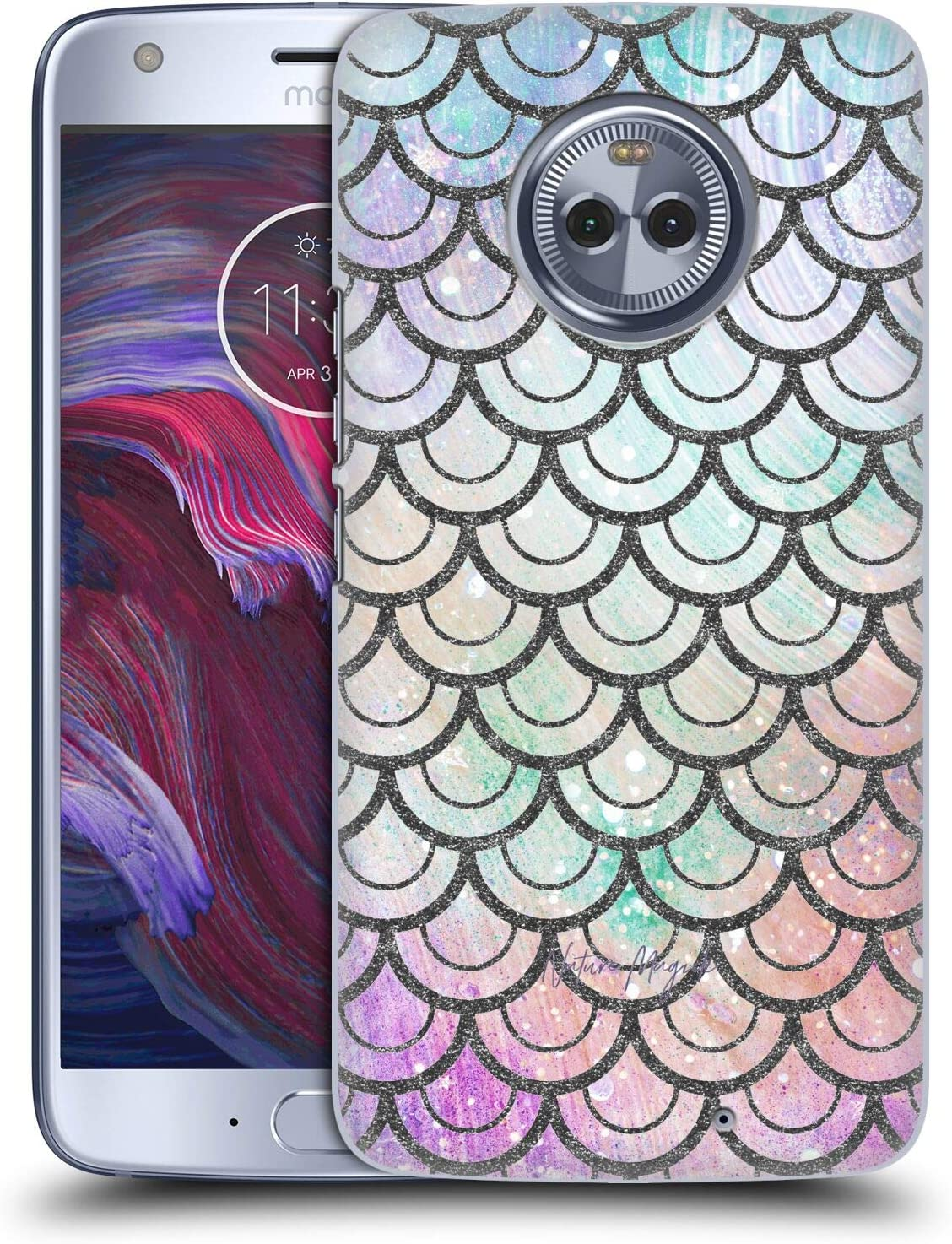 Head Case Designs Officially Licensed Nature Magick Purple Green Teal Mermaid Scales Teal Pink Hard Back Case Compatible with Motorola Moto X4