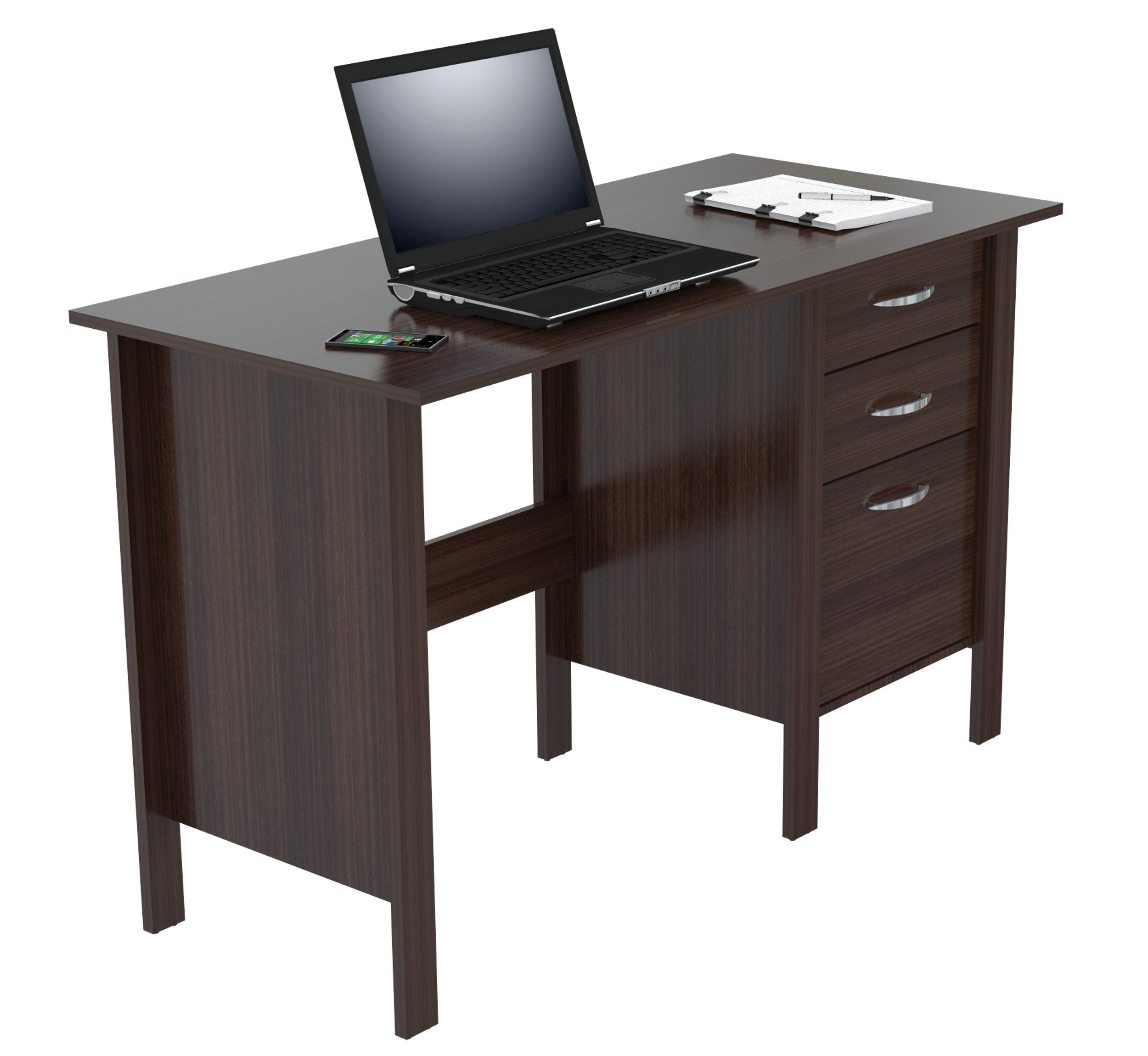 Inval America Writing Desk with 3 Drawers, Espresso Wengue