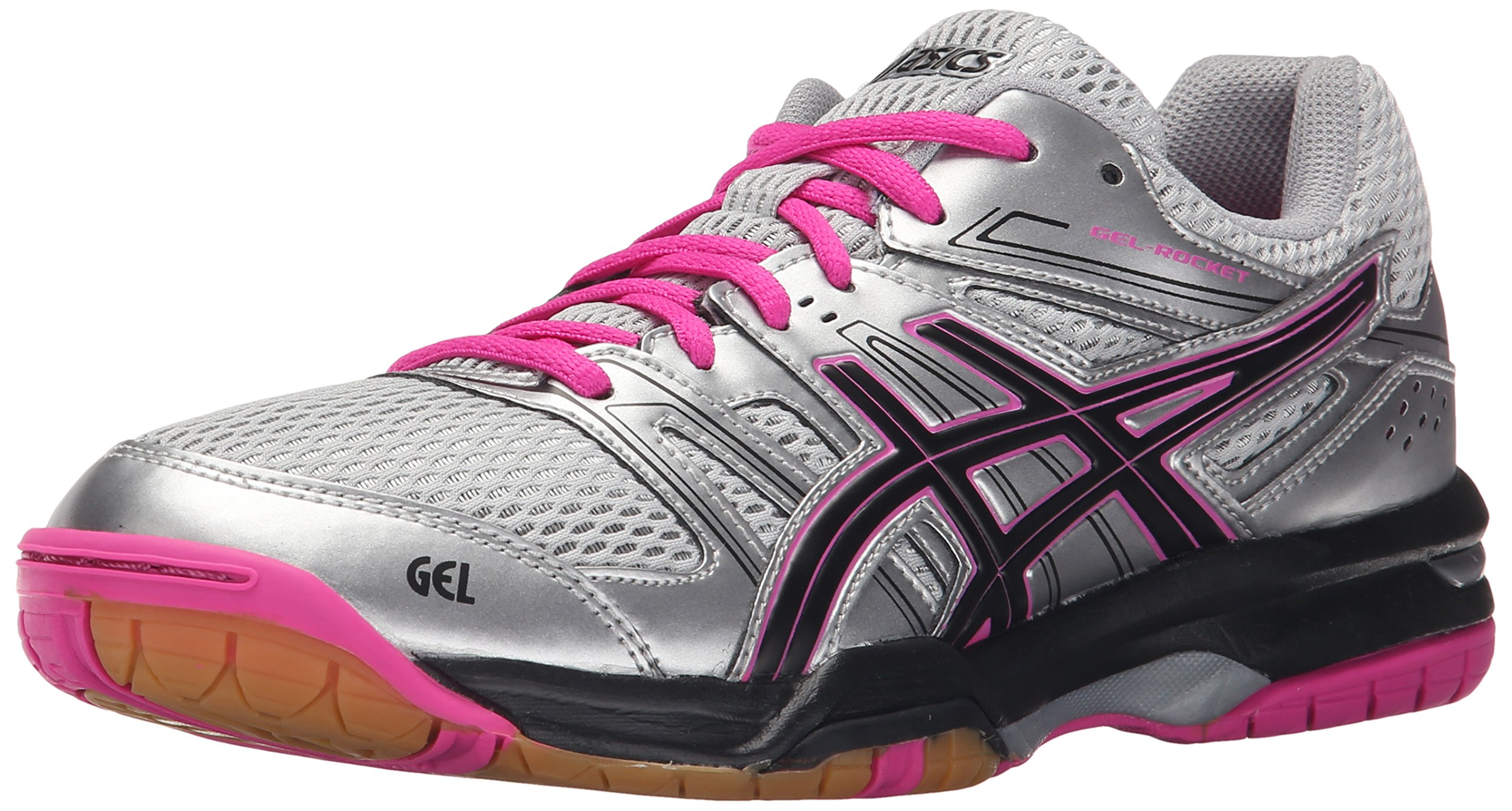 ASICS Women's Gel Rocket 7 Indoor Court Shoe, Silver/Black/Pink Glow, 13 M US