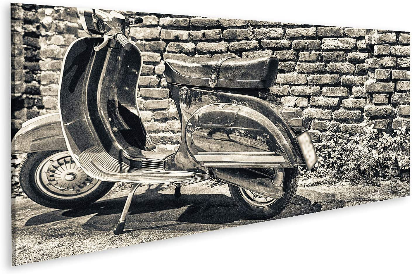Bild auf Leinwand Milano Italy September alte Vespa geparkt entlang navig navigli Nacht italienisches Motorrad Bilder Wandbild Poster Leinwandbild