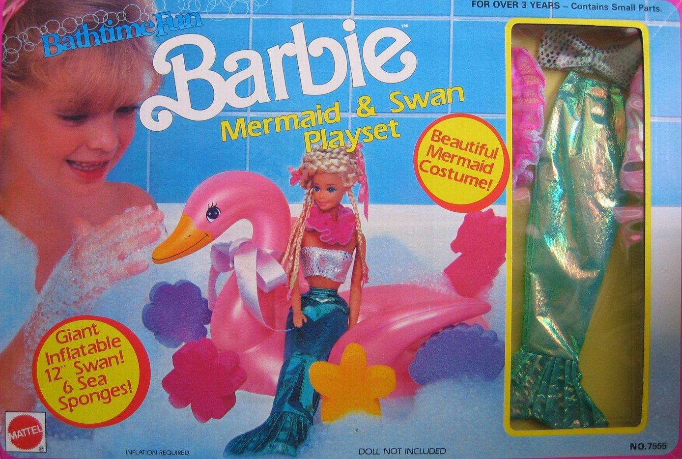 Bathtime Fun BARBIE Mermaid & Swan Playset w Mermaid Costume (1990 Arco Toys, Mattel)