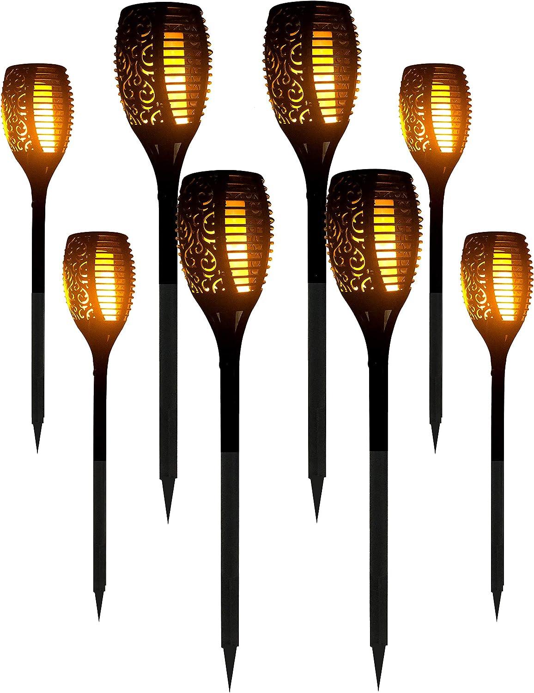 8 Packs LED Solar Outdoor Dancing Flickering Flames Torch Light Landscape Decoration Path Patio Driveway Garden Yard Waterproof Tiki Lantern Lamp