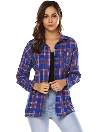 8034c436cffc7c URRU Womens Long Sleeve Collared Button Down Plaid Flannel Shirt Blue S