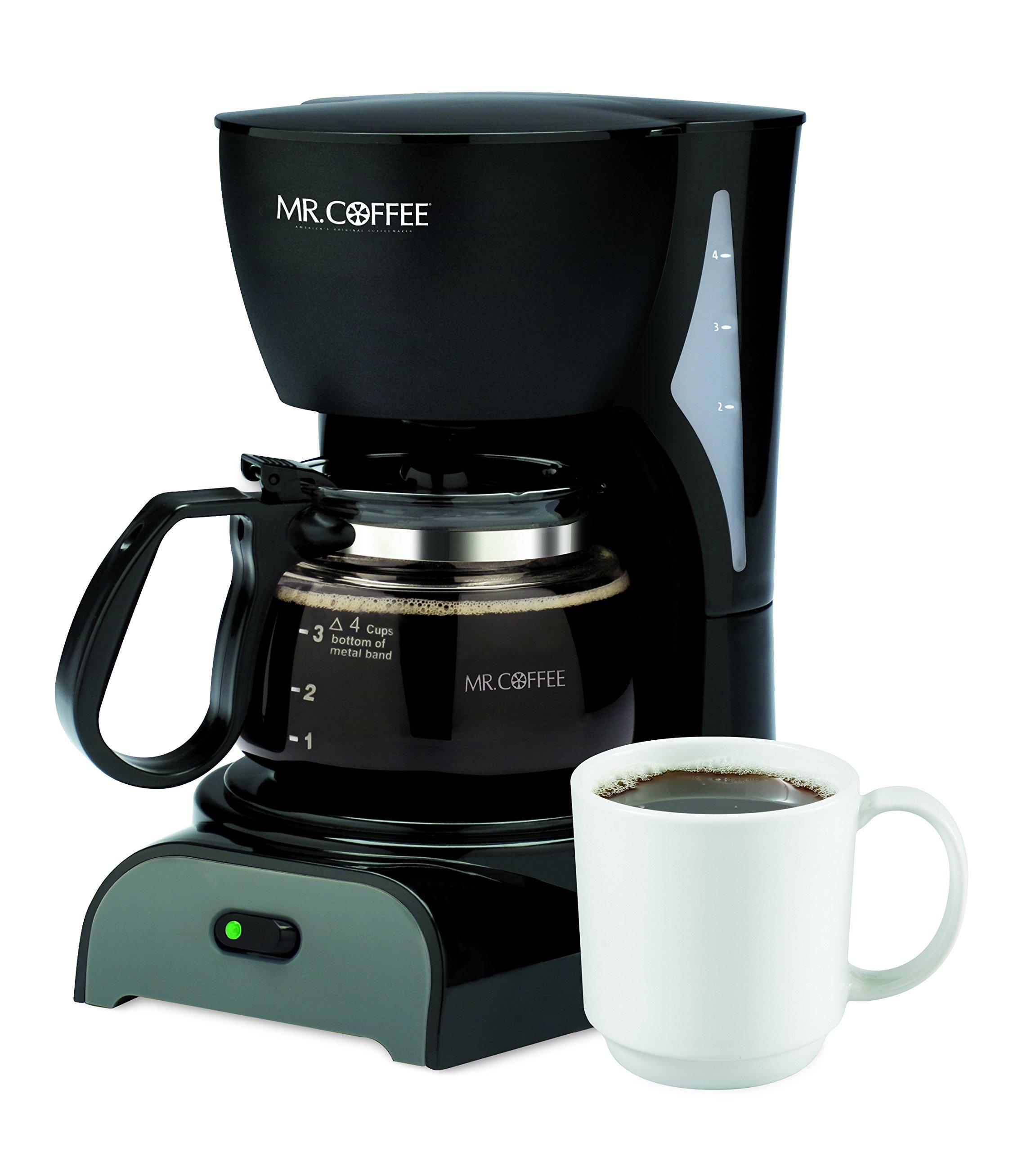 Mr. Coffee Simple Brew 4-Cup Coffee Maker, Black