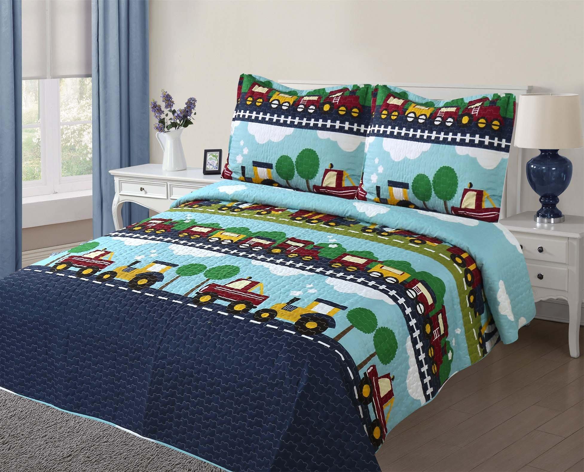 Golden Linens Full Size ( 1 Quilt, 2 Shams) Navy Blue Aqua Blue Trains Air plain Trucks Kids Teens/ Boys Quilt Bedspread 04-16 boys
