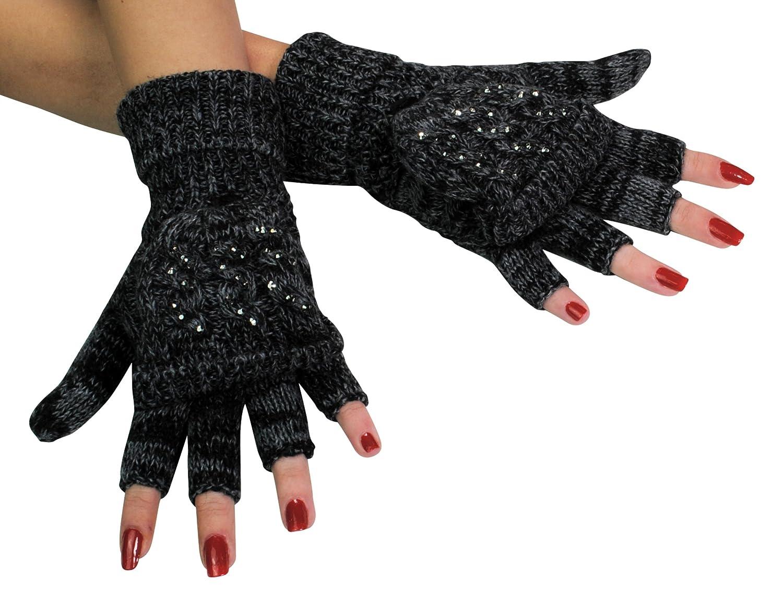 Immerschön Handschuh mit Klappe - 2 in 1 - fingerlose Handschuhe Fäustlinge klappbar Uni-Größe