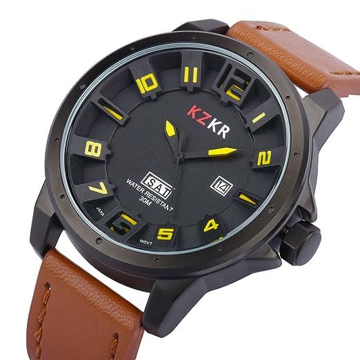 25 opinioni per Orologio uomo nero KZKR Orologi uomo militare orologio da uomo uomini date