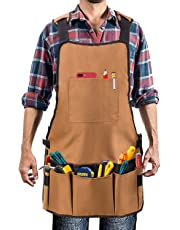 Work Apron, UHINOOS Heavy Duty Oxford Canvas Shop Apron with Pockets - Multiple Pockets to organize your tools - Adjustable Shoulder and Waist Padded Straps - Waterproof and Protective Tool Apron