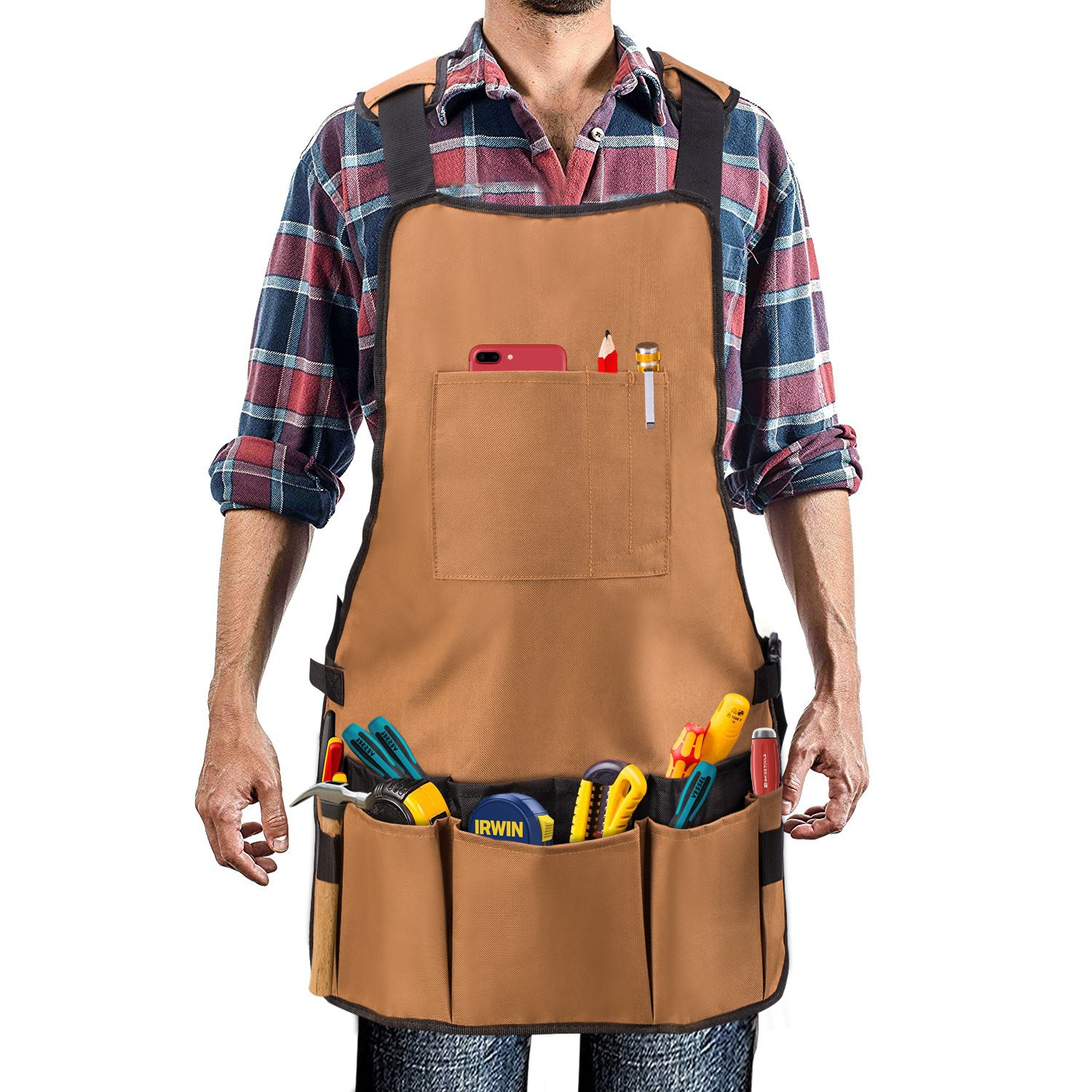 Work Apron - UHINOOS 16 Pockets Professional Heavy Duty Waterproof Tool Apron With Adjustable Cross-back Strap Fits Men & Women (brown)