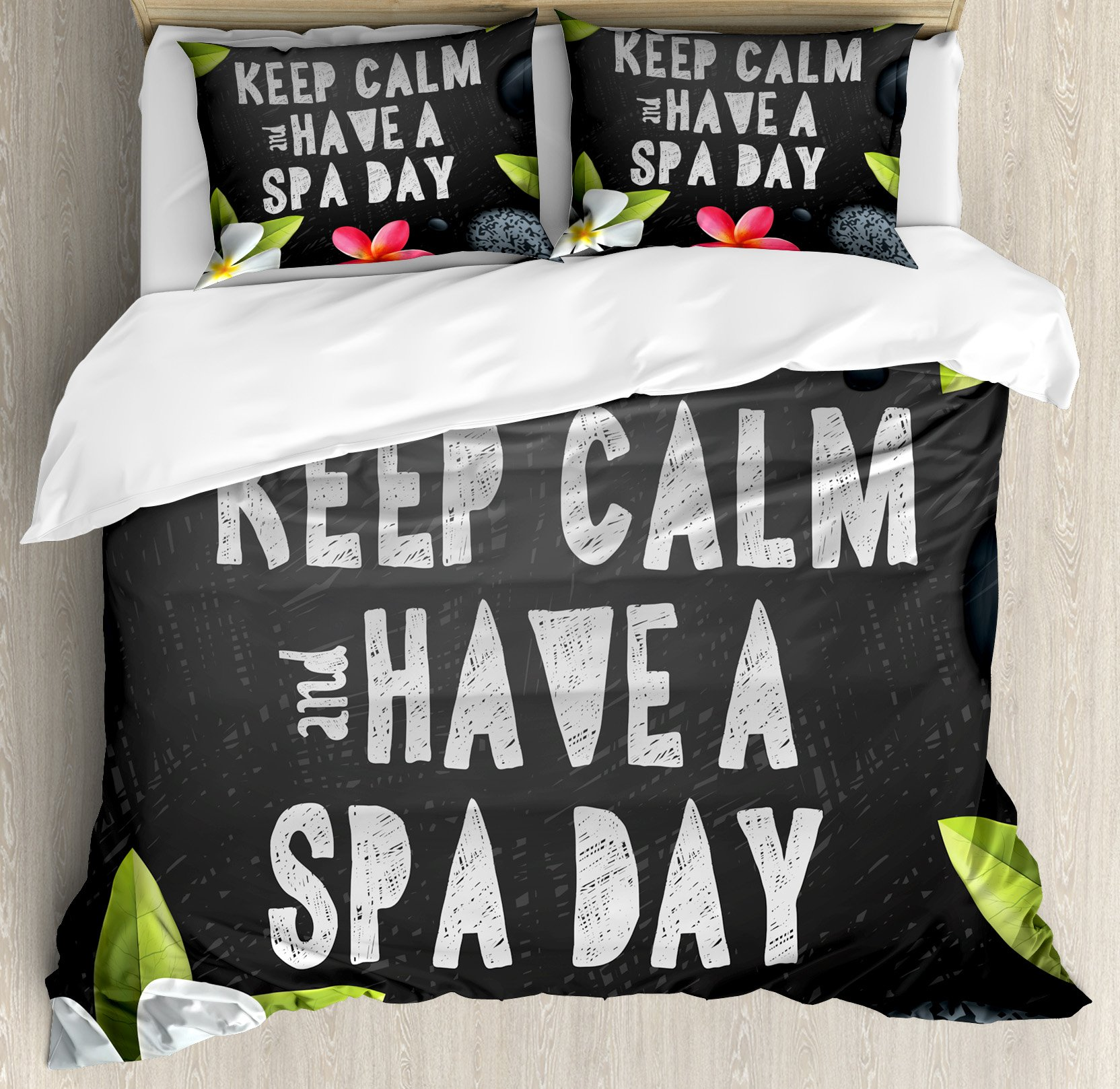 Ambesonne Zen King Size Duvet Cover Set by, Keep Calm Have a Spa Day Quote Healthcare and Beauty Treatment Graphic Stones Flowers, Decorative 3 Piece Bedding Set with 2 Pillow Shams, Multicolor