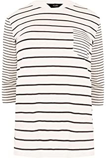 Yours Clothing Women/'s Plus Size White Contrast Stripe Pocket T-shirt