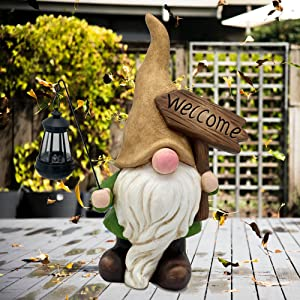 LHOYIR Garden Gnomes Outdoor,18.9 Inch Large Gnome Figurine Solar Led Lights,Decorations for Patio Yard Statues Lawn Porch Outdoor Funny,Spring Summer Ornament Gift