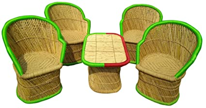 PatioStack Bamboo Outdoor Sitting Chair Furniture Set for Garden / Terrace / Lawn and Living Room [ 4 Chair, 1 Table ]