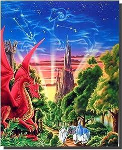 Dragon Wall Decor Mythical Mountain Sue Dawe Fantasy Kids Room Art Print Poster (16x20)