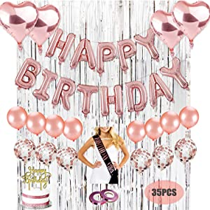 Kwayi Birthday Party Decorations Kit, Gold Rose Happy Birthday Party Supplies with HAPPY BRITHDAY Foil Balloon, Silver Curtain, Sash, Cake Topper, Whole Set 35PCS For Women Girl All Ages Birthday Party Decoration