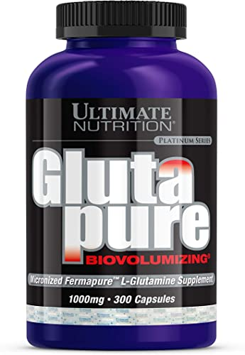 Ultimate Nutrition GlutaPure Micronized L-Glutamine Supplement for Men Women 1,000mg, 300 Capsules
