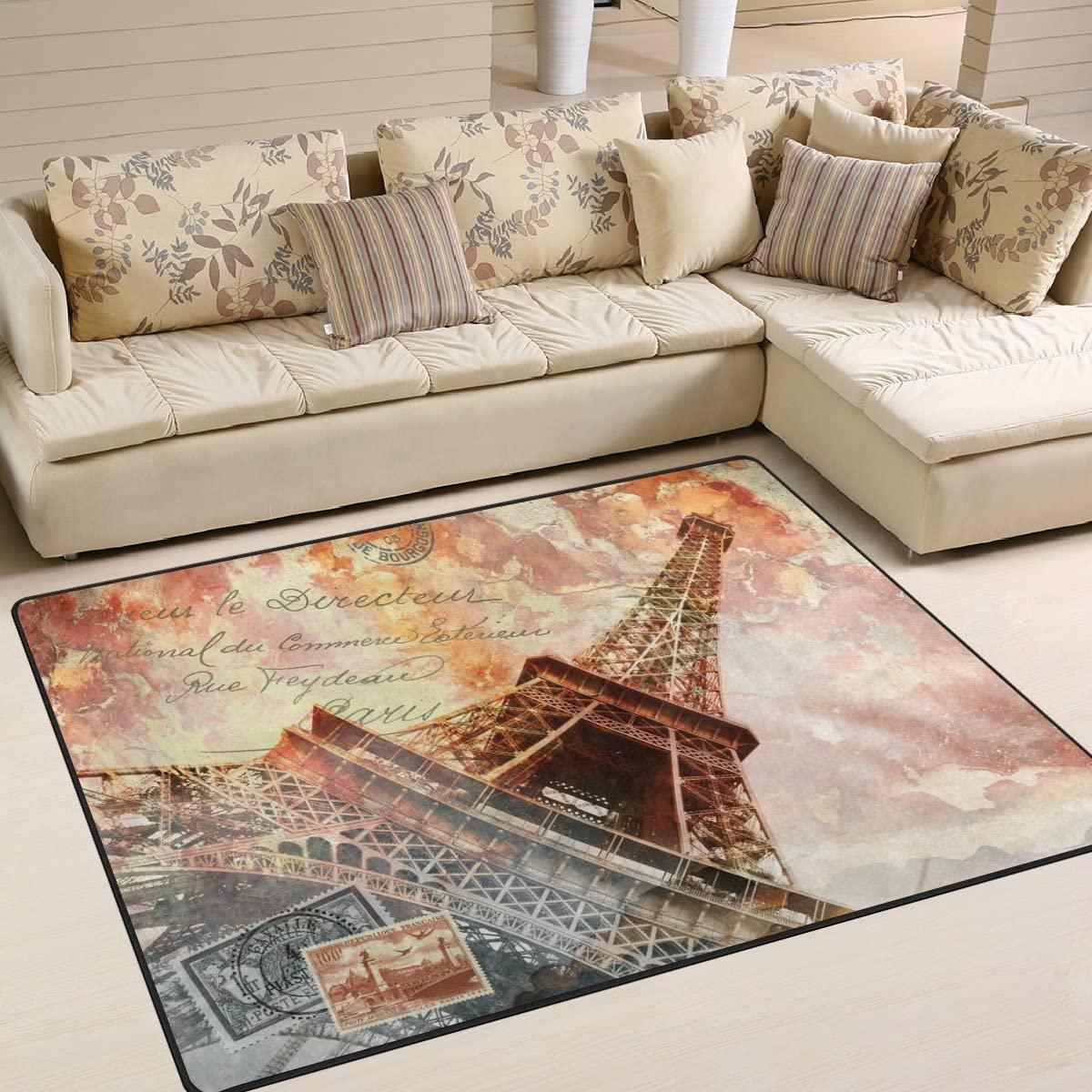 ALAZA Vintage Abstract Eiffel Tower Paris Area Rug Rug
