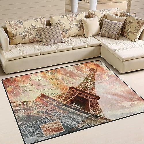 ALAZA Vintage Abstract Eiffel Tower Paris Area Rug Rug