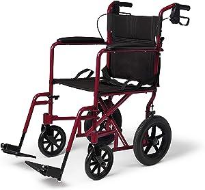 Medline Lightweight Transport Wheelchair with Handbrakes
