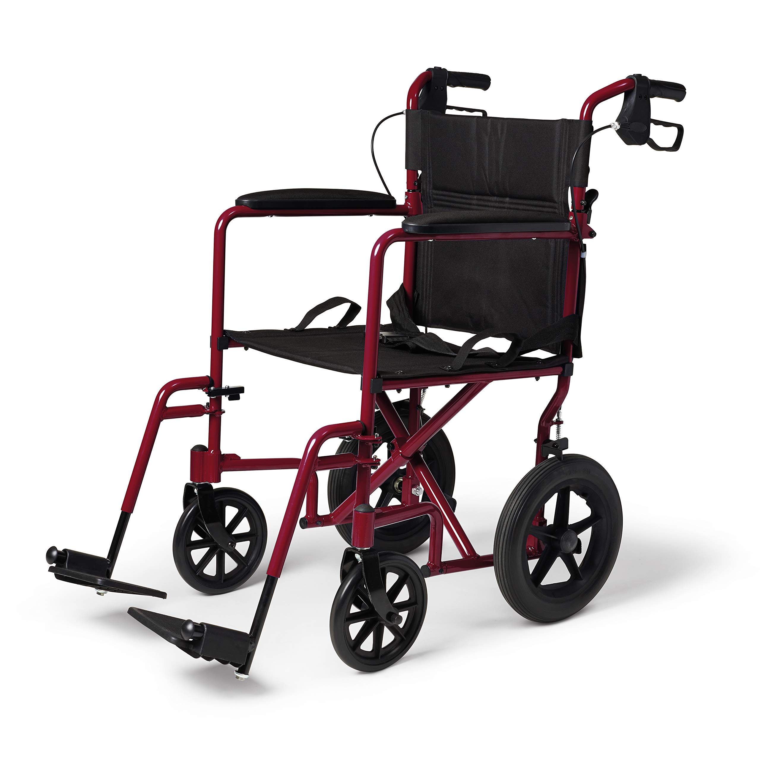 Medline Lightweight Transport Adult Folding Wheelchair with Handbrakes, Red by Medline