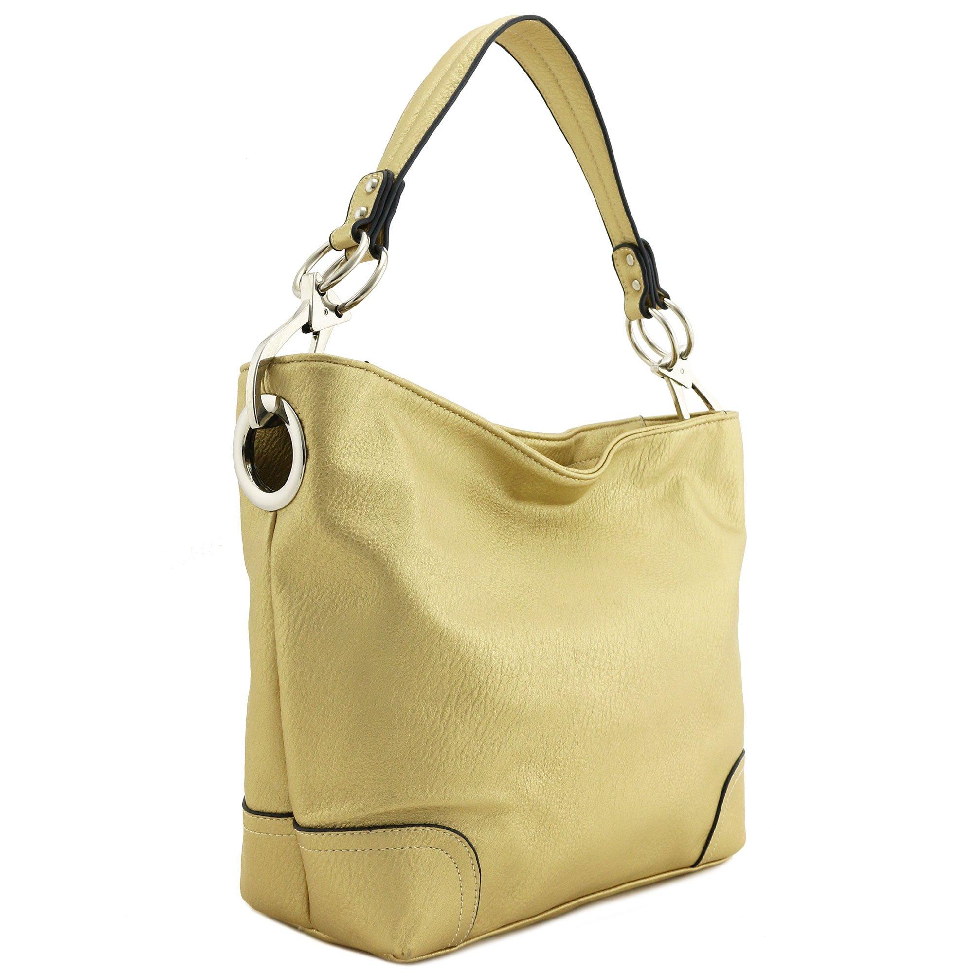 Hobo Shoulder Bag with Big Snap Hook Hardware (Gold)
