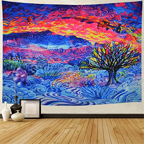 Racunbula Tree of Life Tapestry Colorful Tree Tapestry Psychedelic Tapestry Trippy Tree Wall Art Tapestry Wall Hanging for Bedroom Living Room Dorm X-Large, Cloud Mountain