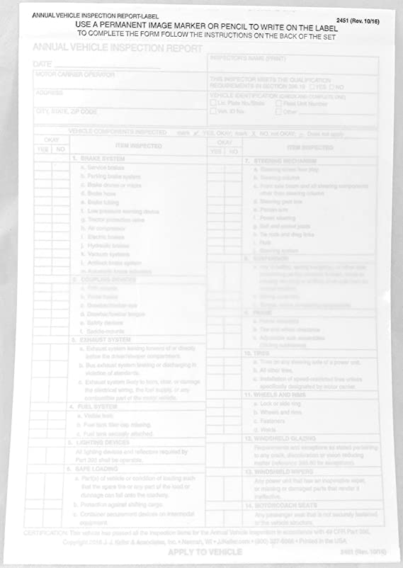 Annual Vehicle Inspection Report Label 10-pk. - Snap-Out Format