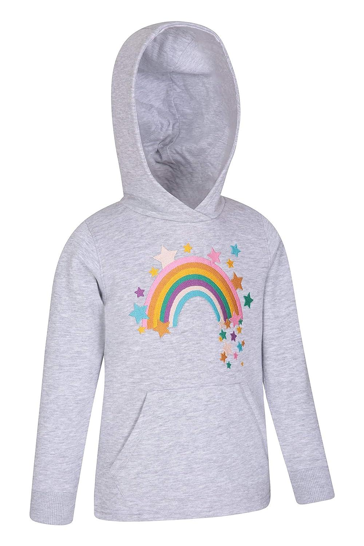 Mountain Warehouse Rainbow Kids Hoody Travelling Sof Brushed Inner Sweatshirt Ideal for Walking Hiking Kangaroo Pocket Pullover Embroidered Design Hoodie