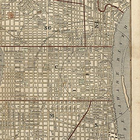 Amazon.com: Philadelphia Pennsylvania city plan 1855 Ensign ...